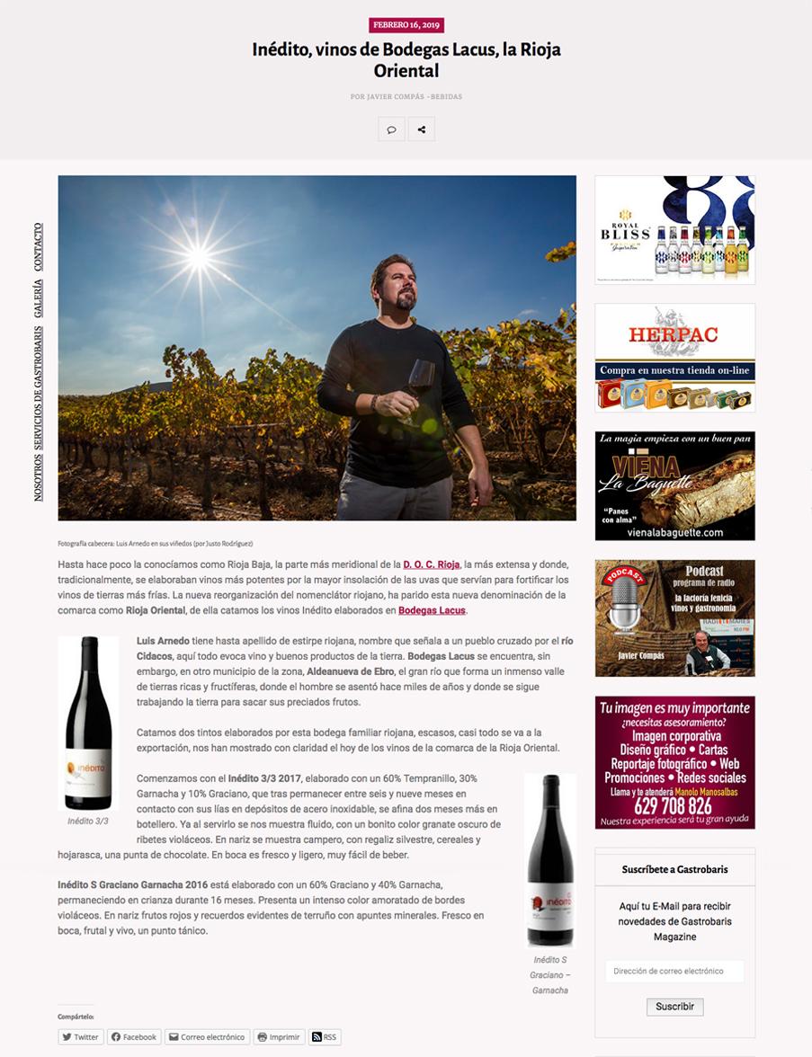 Inédito, vinos de Bodegas Lacus, la Rioja Oriental